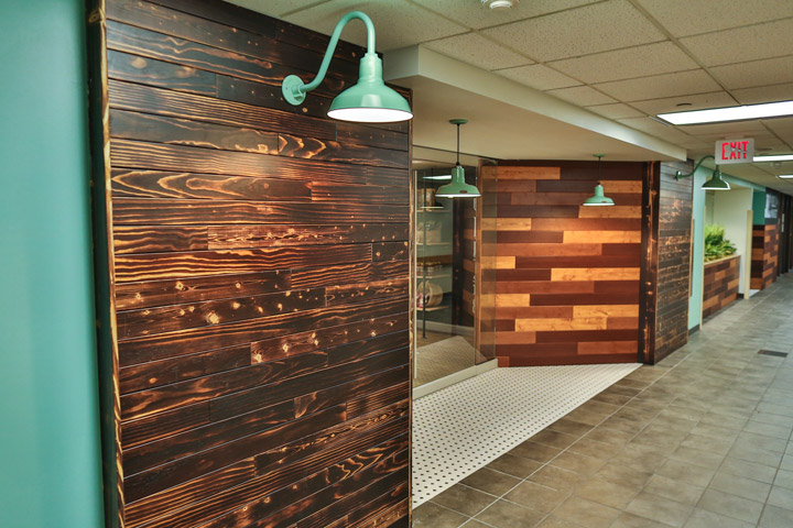 charred wood panel wall entryway