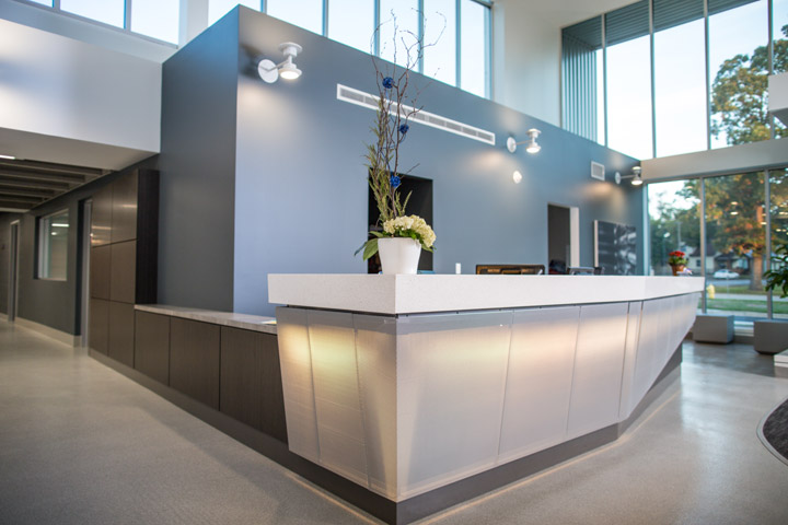 custom reception desk Quartz top