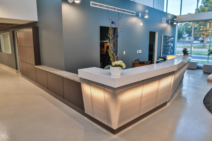 custom reception desk aisleway