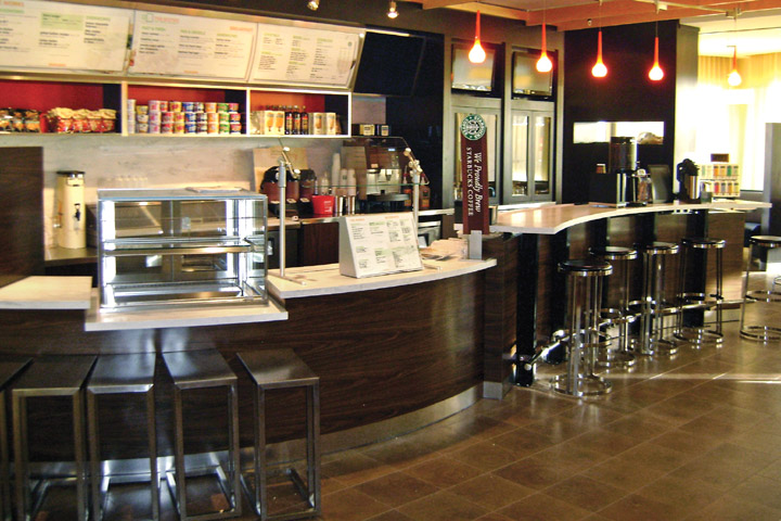 s-shape coffee bar